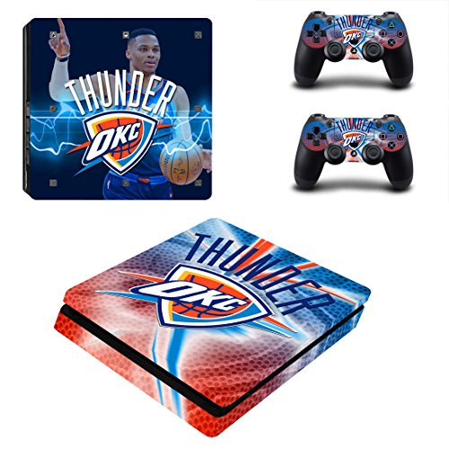 Vanknight PS4 Slim Console Dualshock Controllers Skin Set Vinyl Decal Sticker for Playstation 4 Slim Console NBA