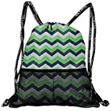 ANYWN Seattle Seahawks Chevron Drawstring Backpack Bags Rucksack with Mesh Pockets for Gym for School