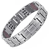 Double Strength 4 Elements PURE Titanium Magnetic Therapy Negative Ions Germanium Link Bracelet for Arthritis Pain Relief Anti-Radiation(Imported,591 Energy Stones)