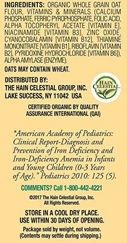 51BGs5 YbTL - Earth's Best Organic Infant Cereal, Whole Grain Oatmeal, 8 Oz. Box (Pack Of 12)
