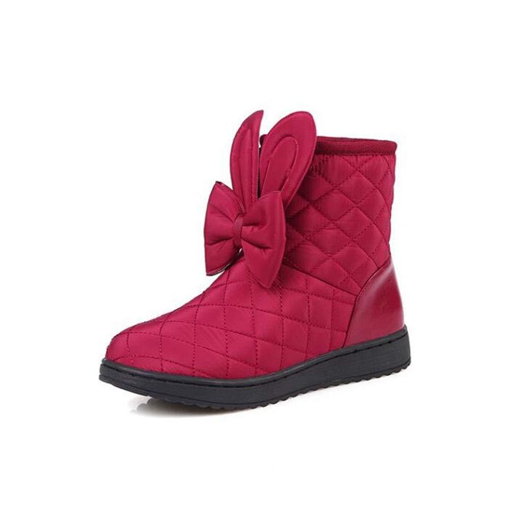 Hy Frauen Stiefelies Winter Künstliche PU Flache Warme Winddichte Schneeschuhe/Damen Komfort Flache Ferse Student Baumwolle Schuhe Mode Stiefel (Farbe : Weinrot, Größe : 31)