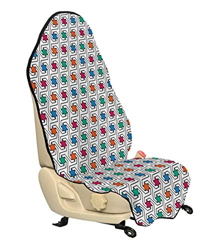 Ambesonne Star Car Seat Hoody, Colorful Stars on Abstract Pop Art Geometric Pattern Modern Teen Room Rock Punk Print, Car and Truck Seat Cover Protector with Nonslip Backing Universal Fit, - Rock 57 Inch