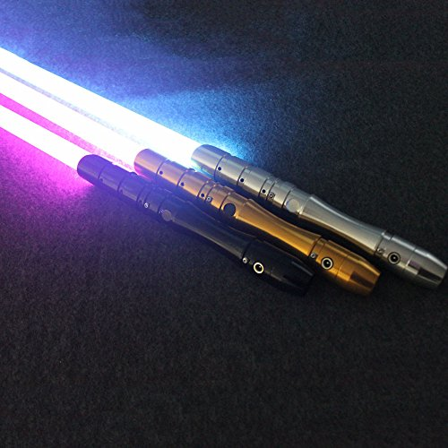 Lightsaber Orange (Metal Lightsaber with Sound – Removable Blade, Aluminum Hilt, Black Silver or Gold Finish, Rechargeable, 5 Color Choices, Be your favorite Star Wars Character (Brushed Aluminum with Red Blade))