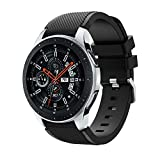 Polwer Replacement Bands Compatible for Samsung Galaxy Watch 46mm, Fashion Soft Silicone Watch Band Smartwatch Strap Wristband Accessories for Women and Men (Black)