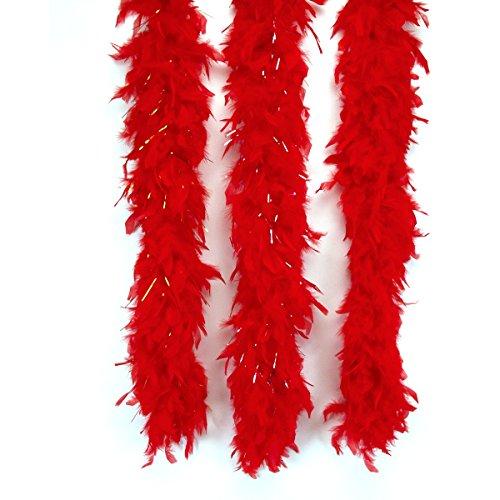 Loftus International Long Fluffy Feather Vegas Boa, Red, One Size/72