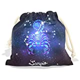 Constellation Zodiac Sign Scorpio Velvet Drawstring Gift Bag Wrap Present Pouches Favor for Jewelry, Coin, Holiday, Birthday, Party, 8X12.6 Inches