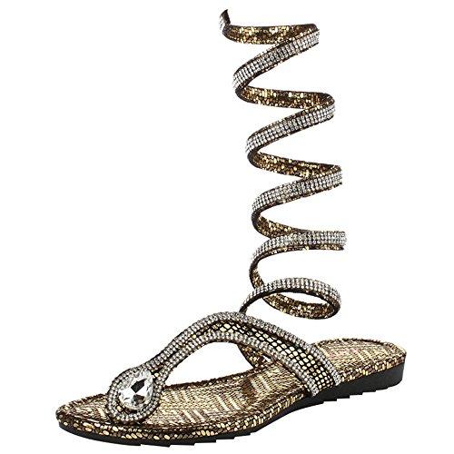 Ladies Femmes Flops Soirée Gold Strappy Sandales Casual Flip Quotidien Nightclub Sangle Chaussures Cheville Plates zpzqTPr