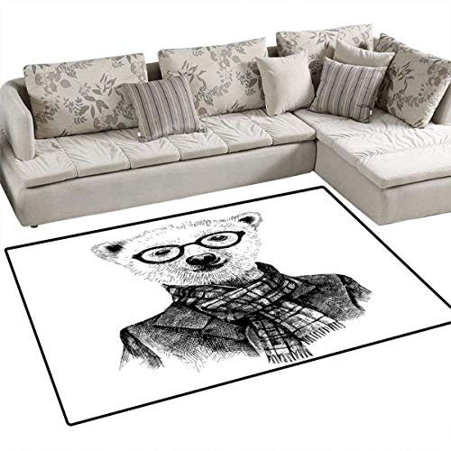 Animal Floor Mat for Kids Hand Drawn Monochrome Sketch Style Hipster Bear with Jacket Scarf Glasses Bath Mat Non Slip 3'x5' Black Grey and White