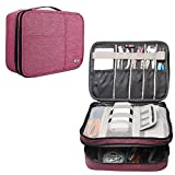 BUBM Travel Organizer, Electronic Accessories Storage Bag for Cord, Memory Card, Power Bank and More, A Pouch fits for iPad Pro (Extra Large, Denim Pink)