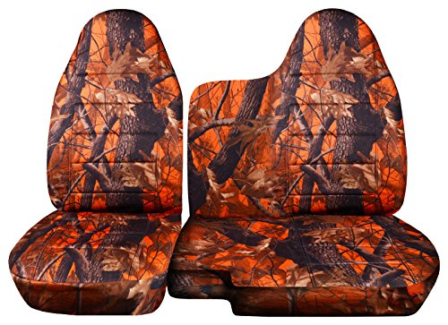 Designcovers 1998-2003 Ford Ranger/Mazda B-Series Camo Truck Seat Covers (60/40 Split Bench) - No Armrest/Console: Orange Real Tree Camouflage (16 Prints) 1999 2000 2001 ()