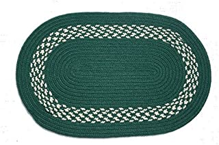 product image for Oval Braided Rug (2'x4'): Dark Green,- Dark Green & Cream Band