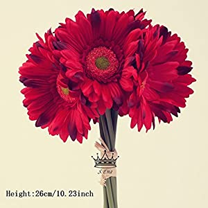 S.Ena 1 Branch 1 Head Artificial Silk Fake Flowers Gerbera Daisy Wedding Floral Home Decor Bouquet Birthday Party DIY, Pack of 14 (Red) 2