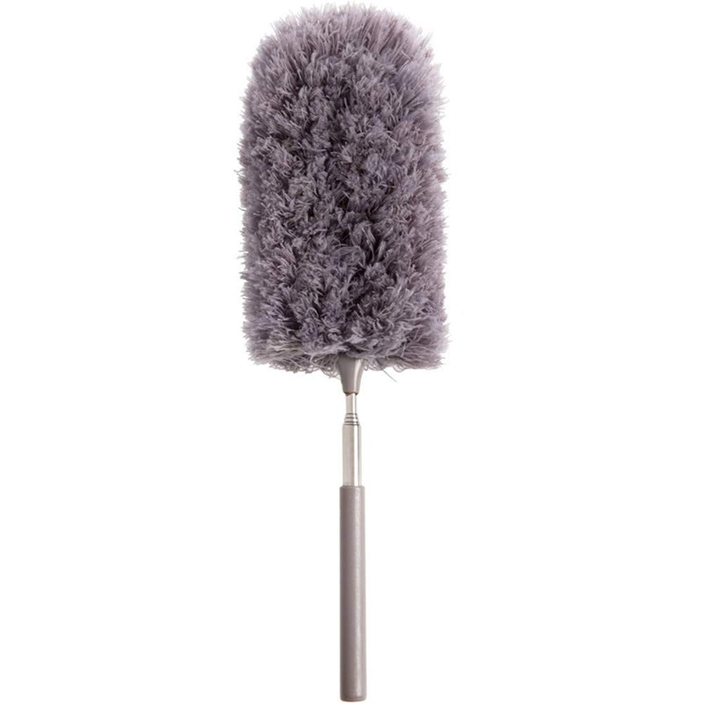Microfiber Duster Dusting Brush, 360° Bendable Fluffy Feather Duster Cobweb Duster Dust Collector With Hanging Design For Home Office Car (Grey)
