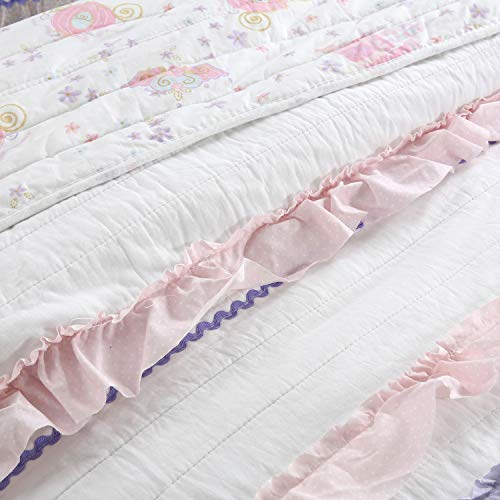Cozy Line Home Fashions Pink Rose Romantic Lace Floral Flower Printed 3D Stripe Cotton Bedding Quilt Set Reversible Coverlet Bedspread for Girls Women Pink Lace, Decor Pillow – 1pc