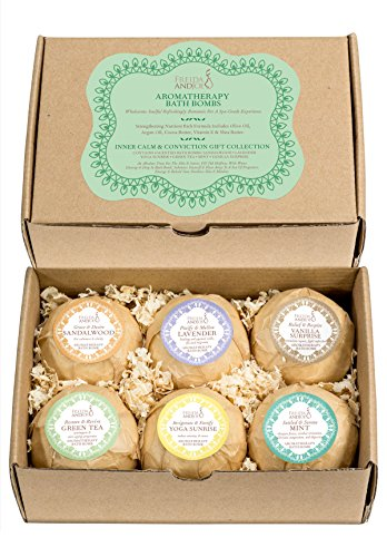 or Women - Set of Aromatherapy Bath Bombs - 6 Different Calming Scents - Vanilla, Mint, Lavender, Yoga Sunrise, Sandalwood, Green Tea ()