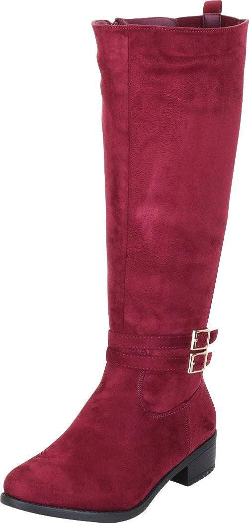 Wine Imsu Cambridge Select Women's Strappy Buckle Low Heel Knee-High Riding Boot