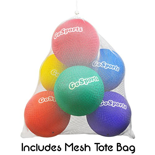 "GoSports 10"" Playground Ball (Set of 6) with Carry Bag and Pump"