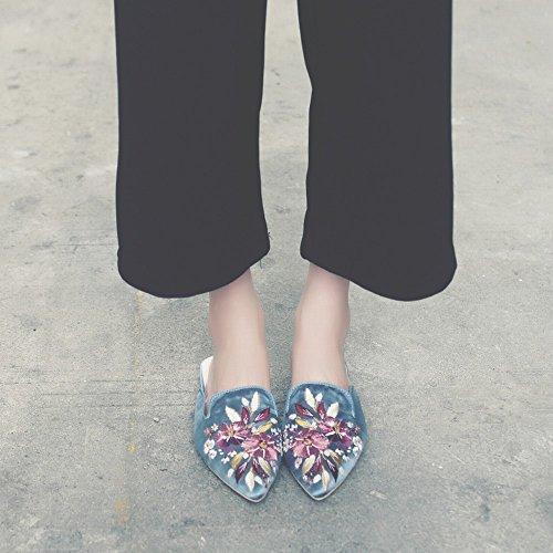 à Fond Paresseux Sandale Tête Plat Pantoufle Chaussures Porter Mode à CWJ la Brodé Mule Baotou Bleu fXxYnfP