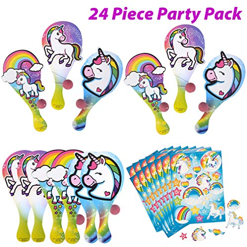 - Unicorn Paddle Ball and Unicorn Sticker Sheets - 24 Piece Set | 12 Unicorn Games for Party and 12 Rainbow Unicorn Sticker Pages for Unicorn Favor Bags | Birthday Supplies and Goodie Bags for Kids