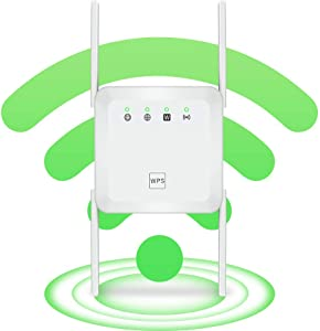 WiFi Range Extender Wireless Signal Repeater Booster, Dual Band Extend WiFi Signal to Smart Home & Alexa Devices Support Desktop Laptop (White, 1200Mbps)