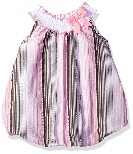 Rare Editions Baby Girls' Seersucker Rompers, Brown/Pink/White, 18M