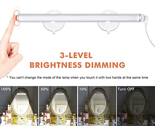 PlusMart Vanity Light Bathroom Mirror Light Portable Makeup Light LED Mirror Light with Touch Control and USB Powered Cosmetic Light Kit