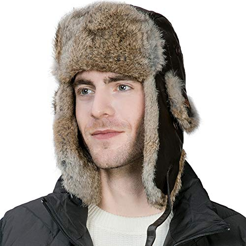Mens Sheepskin Leather Rabbit Fur Winter Trapper Hunting Hat Ear Flaps Russian Ushanka Cold Weather Ski Bomber Women Brown (Trapper Large)