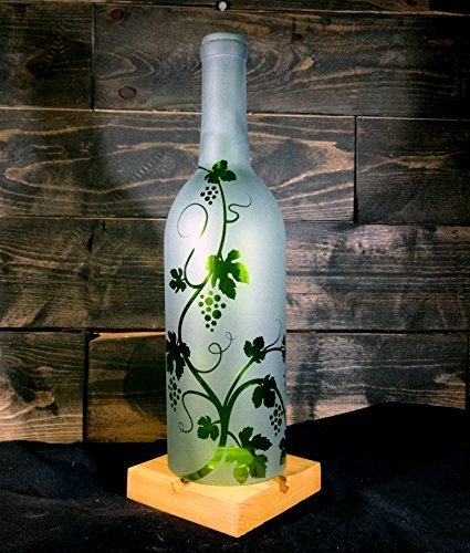 - Recycled Wine Bottle Hurricane Candle Shade Etched with Grapevine