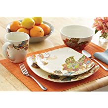 16 Piece Floral Stoneware Dinnerware Set w/ Mugs, Plates & Bowls. Cups Plate & Bowl Sets for Casual / Formal Dinning Room. ON SALE NOW Have Dinner w/ This 16 Pc. Dishware Sets includes Soup Bowl, Side Salad Dish & Mugs. Durable Square Pieces Tableware for any Kitchen Great Glass Serveware Microwave & Dishwasher Safe