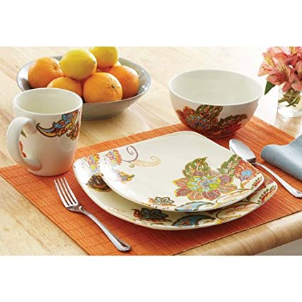 16 Piece Floral Stoneware Dinnerware Set w/ Mugs Plates u0026 Bowls. Cups Plate  sc 1 st  Amazon.com : plates and bowl sets - pezcame.com