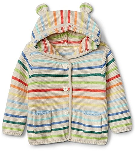 BabyGap Girls Crazy Stripe Bear Hoodie Cardigan Sweater 3-6 Months