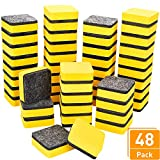 Blulu 48 Pieces Mini Magnetic Whiteboard Erasers Dry Erase Erasers Chalkboard Erasers for Home Classroom Office Use (Yellow, 2 x 2 Inches)