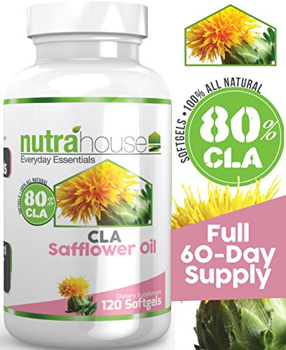 CLA Safflower Oil softgel by NutraHouse Vitamins. 120 Softgels, 80% Active Conjugated Linoleic Acid. Reduces belly fat and tones your abdominal area, Ideal for shaping and toning a six pack! Burn Store Fat. Natural Weight Loss.