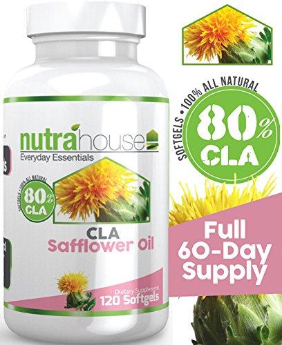 El aceite de alazor CLA softgel por NutraHouse vitaminas. Ácido linoleico conjugado 80% Active, 120 cápsulas. Reduce la grasa del vientre y tonifica tu abdomen, Ideal para dar forma y tonificar un paquete de seis! Quemar la grasa de la tienda. Pérdida de