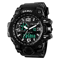 Dual time & date & chronograph & alarm & back light  Durable stainless steel back,black resin strap.  Precise quartz & digital movement for accurate time keeping.  50M water resistance (do not press any buttons under wate...