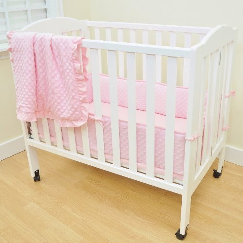 TL Care Heavenly Soft Minky Dot 3 Piece Mini Crib Set, Pink, for Girls