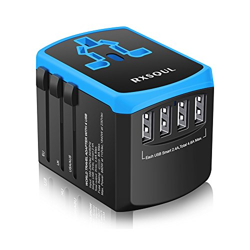Universal Power Travel Adapter,RXSQUL International Power Adapter Smart 2.4A 4 USB, European Adapter Converter,Plugs Adapters Europe, Canada, UK, US, AU, Asia-Blue