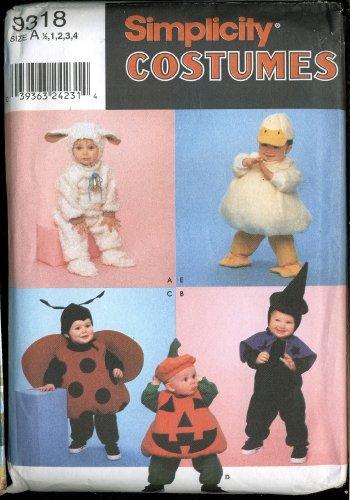 Simplicity Costumes 9318 ~ Lamb, Witch, Ladybug, Pumpkin, Duck ~ Sizes 1/2 - 4