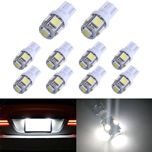 194 T10 W5W 5SMD 5050 Antline 12v LED Light Bulb White 2825 158 192 168 for Car/Motor Interior Dome Parking Side Turn Signal Dashboard License Number Plate Light Bulbs Lamp (pack of 10)