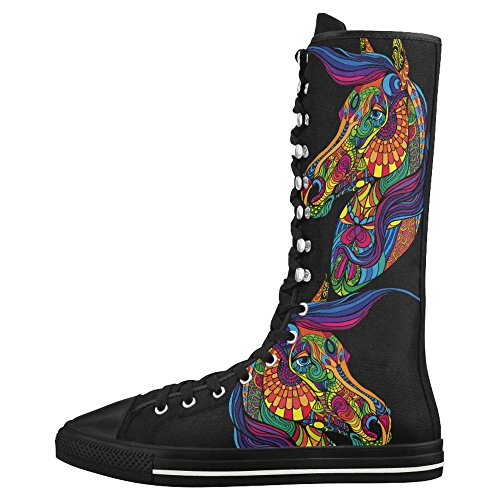 D-histoire De La Mode Lace Up Tall Punk Toile De Danse Longues Bottes Sneakers Chaussures Pour Femmes Multicoloured23