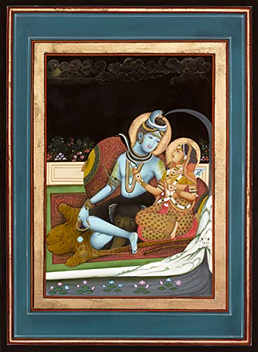 Traditional Indian Painting of Shiva and Parvati on a Terrace, Antique Painting Style - Giclée Fine Art Print ()