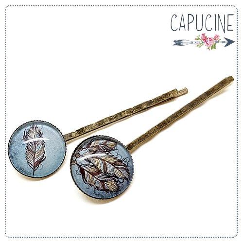 2 pinces bronze cabochons verre plumes - pinces cheveux cabochon attrape rêves - Barrettes cheveux illustrées - Attrape rêves