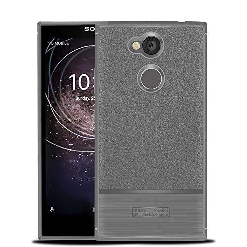 Funda Sony Xperia L2,Funda Fibra de carbono Alta Calidad Anti-Rasguño y Resistente Huellas Dactilares Totalmente Protectora Caso de Cuero Cover Case Adecuado para el Sony Xperia L2 B
