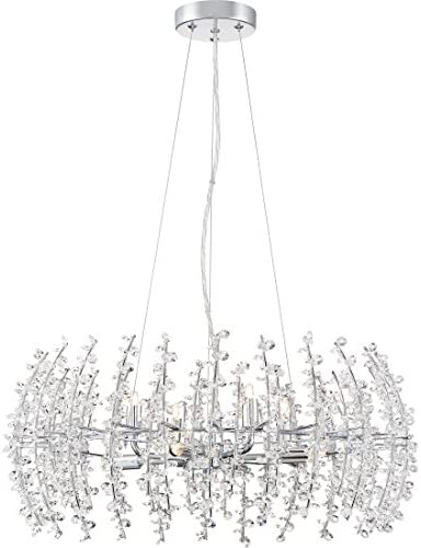 Quoizel VLA2823C Valla Crystal Foyer Chandelier, 8-Light, Xenon 320 Watts, Polished Chrome 10 H x 23 W