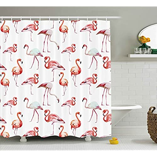Flamingo Decor Flamingos Beauty Balance Grace Symbol Animals Digital Print  Polyester Fabric Shower Curtain, Pink Coral White