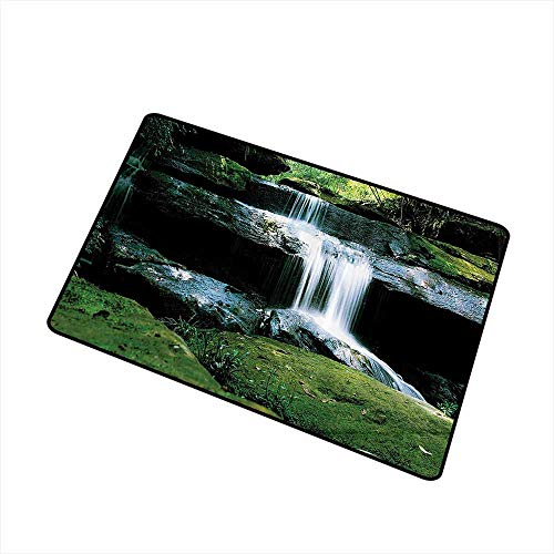 Mdxizc Entrance Door mat Waterfall Decor Collection Flowing Streams River in Nature Scenery Rocks Trees Pattern W35 xL59 All Season General Green Olive White