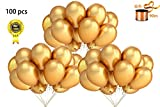 Pearlescent Latex Balloons,12'' Gold Latex Balloons with Ribbon for Wedding and Party Decoration -100 Pack