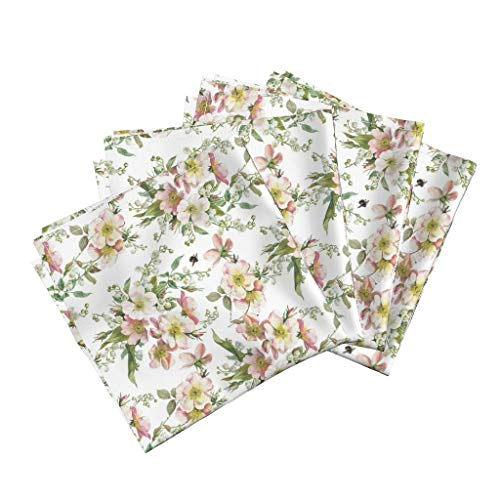 Vintage Floral Linen Cotton Dinner Napkins Bee Flowers Spring Summer Florals Bee Roses Flowers Floral Chintz English Garden Lily of The by Lilyoake Set of 4 Dinner -