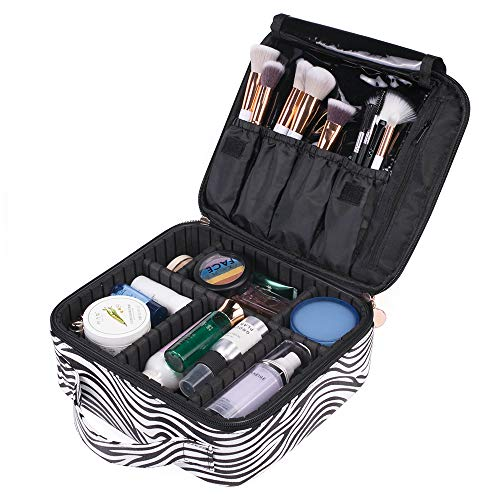 OXYTRA Makeup Bag Zebra Print PU Leather Travel Cosmetic Bag for Women Girls - Cute Large Makeup Case Cosmetic Train Case Organizer with Adjustable Dividers for Cosmetics Make Up Tools (Zebra Print) -