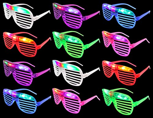 Set of 12 VT Flashing LED Multi Color 'Slotted Shutter' Light Up Show Party Favor Toy Glasses (Colors May Vary) -